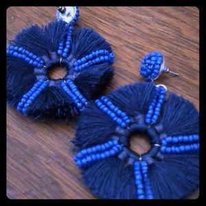 Blue yarn & beaded earrings posts/hoops NWOT